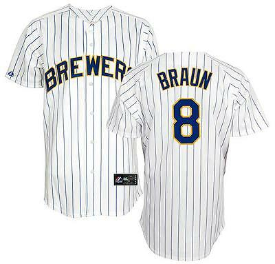 sports shoes 6cced 17c84 NWT Majestic Ryan Braun Milwaukee Brewers Men's Alternate Home Replica  Jersey 2X | eBay