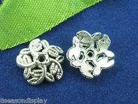 500pcs Silver Tone Flower End Beads Caps 10mm