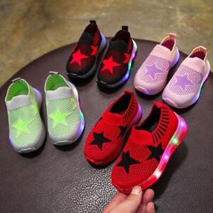 Baby Boys Girls Kids Running Shoes LED Sneakers Light Up Luminous Sport Trainer
