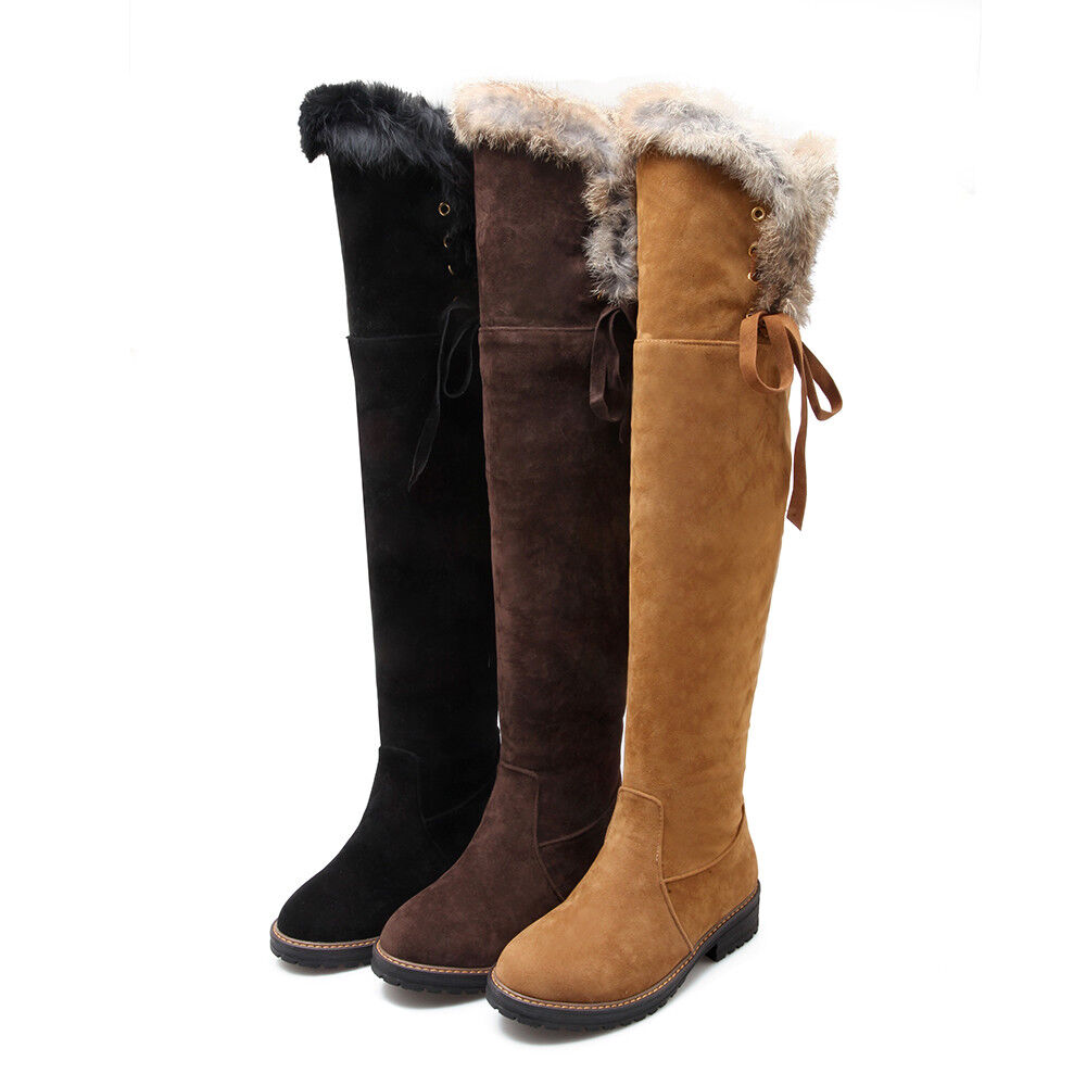 femmes Thick Faux Suede Solid Pull On Casual Winter Over The Knee High bottes