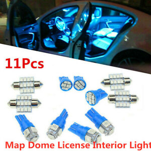 11x Blue LED Interior Package Kit T10 31mm Map Dome License Interior Light Bulb
