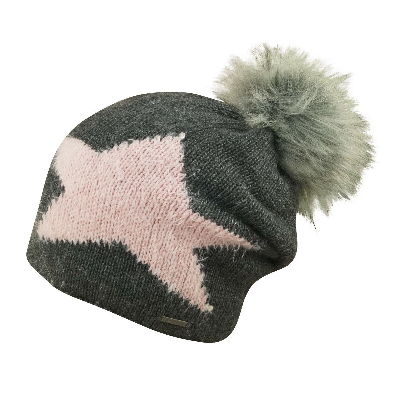 Bugatti Fluffy Star Fake Fur Bommelmütze Damen Wintermütze Sterne Innenfleece