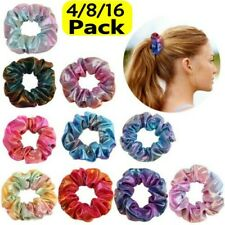 4//8//12Pcs Shiny Metallic Hair Scrunchies Ponytail Holder Elastic Ties Bands Girl