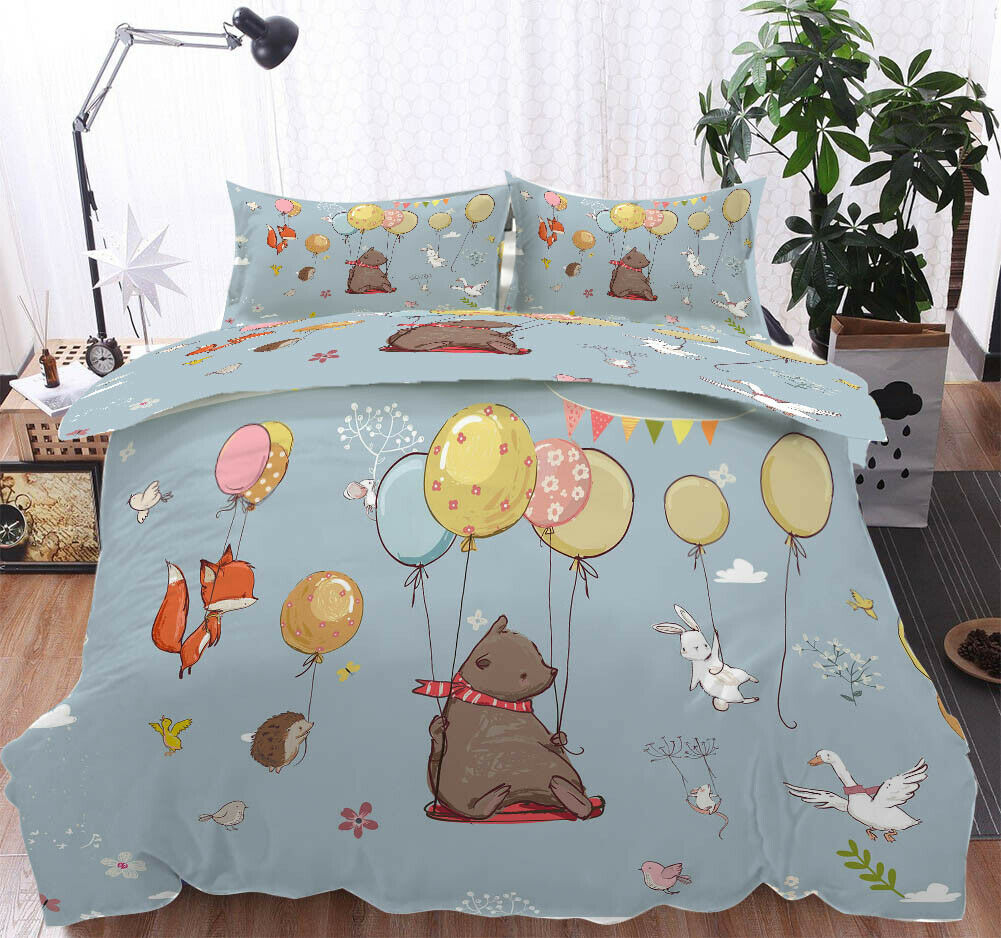 A Bear Balloon 3D Druckening Duvet Quilt Will Startseites Pillow Case Bettding Sets
