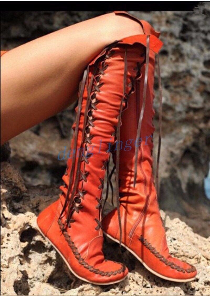Gladiator pour Femme à Lacets au-dessus du genou bottes hautes Roma Flats Tassel chaussures Hot