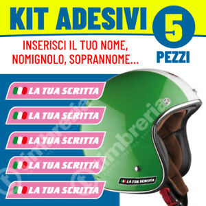 Adesivi-Adesivo-ROSA-nome-personalizzato-Kit-5pz-Sticker-Casco-Moto-Bici-Bike