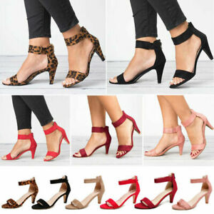 Womens-Low-Mid-Kitten-Heel-Ankle-Strap-Sandals-Summer-Ladies-Peep-Toe-Shoes-Size