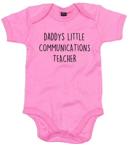 COMMUNICATIONS TEACHER BODY SUIT PERSONALISED DADDYS LITTLE BABY GROW GIFT