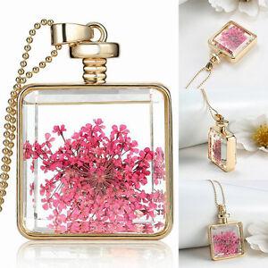 Glas-Locket-Medaillon-Blume-Pflanze-Anhaenger-Halskette-Mode-Schmuck-Mode