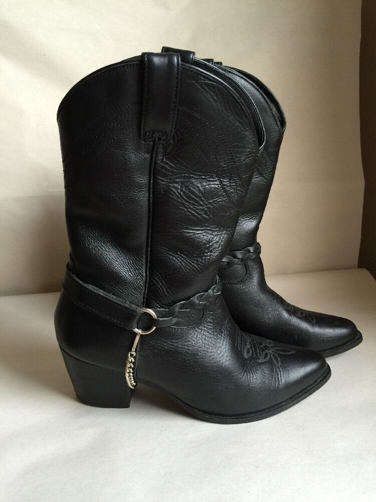 Women's Dingo Black Leather Ankle Boots Size 7M Motorcycle Boots Rockabilly