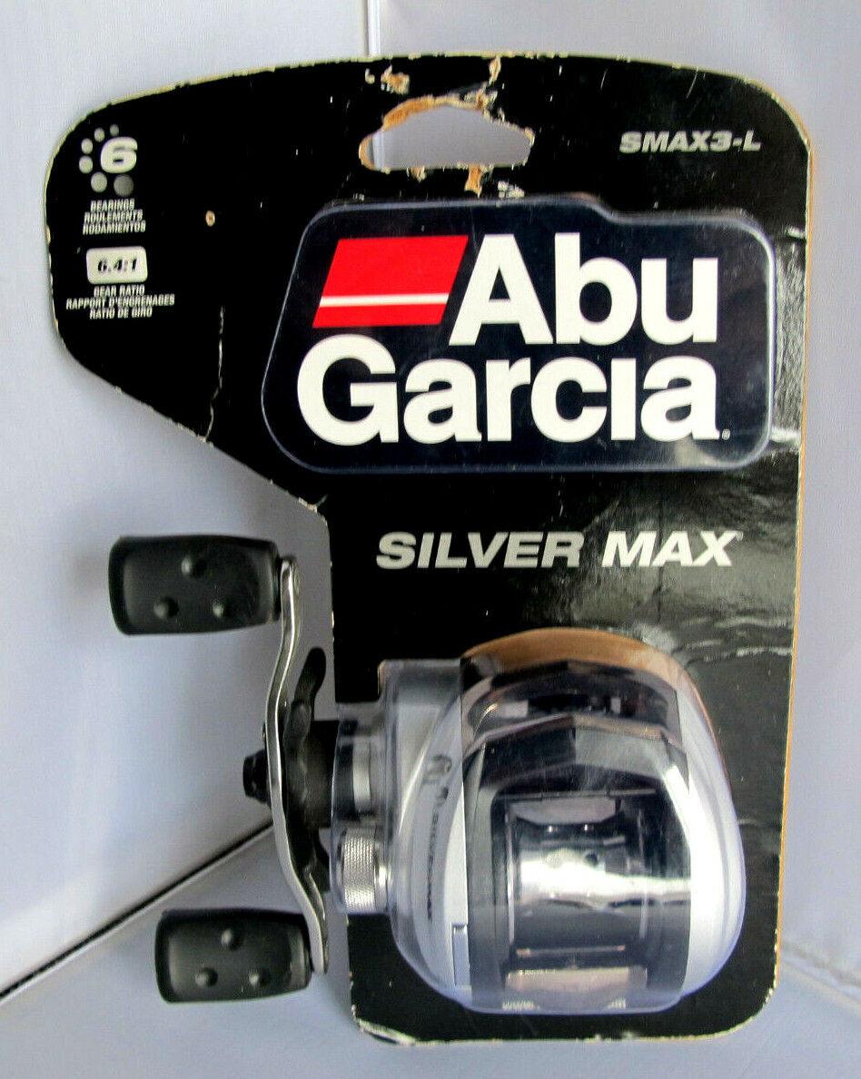 Abu Garcia SMAX3-L Plata Max  bajo perfil Giratorio Reel De Pesca-Mano Izquierda  soporte minorista mayorista