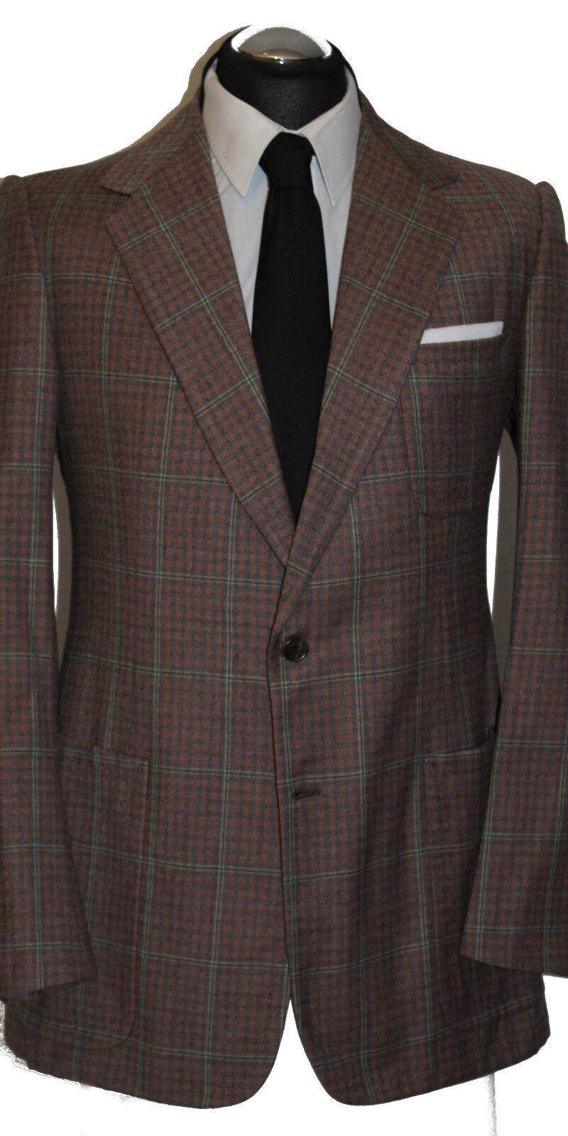 DIMITRI handmade Anzug Gr. 50 handgenäht durchknöpfbare Manschetten Braun Orange   | Bekannt für seine gute Qualität  | Trendy  | Optimaler Preis