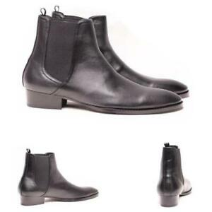 Occident Mens High Top Faux Leather Chelsea Boots Shoes Pull on Cowboy Riding L