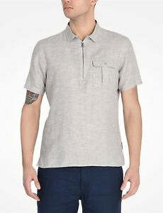 Armani-Exchange-Authentic-Zip-Front-Slim-Fit-Shirt-Tan-Gray-NWT