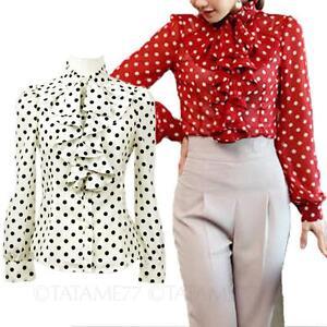 Dress blouse polka dot womens vintage ruffle button down for Button down polka dot shirt