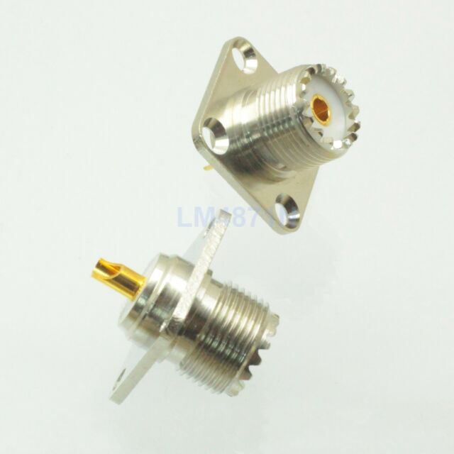 1pce Connector SO239 UHF female 4-hole 25mm flange solder panel mount straight