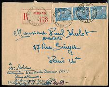 FRANCE 1947 MULTI FRANKED REGISTERED COVER**PARIS