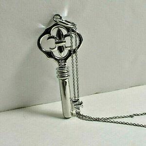 Beautiful-Fleur-de-Lis-Key-Pendant-18-034-Sterling-Silver-Necklace-Ornate-Reverse
