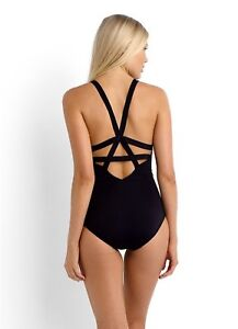 46546ddbeebe NEW Seafolly Fastlane Black Active Deep-V Maillot One Piece Swimsuit ...