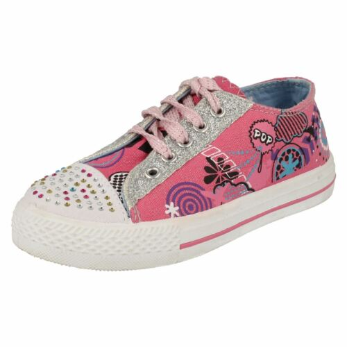GIRLS AIR TECH LACE UP CANVAS CASUAL FLAT DIAMANTE TRAINERS PUMPS SHOES ROGUE
