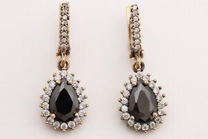 Turkish-Handmade-Jewelry-Drop-Cut-Black-Onyx-Topaz-925-Sterling-Silver-Earrings