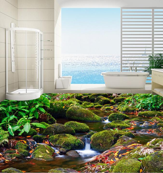 3D Moss Stones River 466 Floor WallPaper Murals Wall Print Decal AJ WALLPAPER