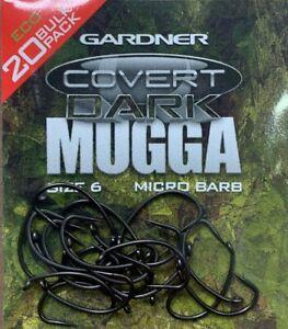 Gardner-Tackle-Covert-Mugga-scuro-ganci-tutte-le-taglie-Barb-Eco-bulk-20-pz-per-confezione