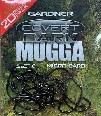 12 GARDNER COVERT DARK MUGGA BARBED//BARBLESS CARP FISHING HOOKS SIZE 6 10 8