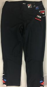 Fila-Sport-Capri-Leggings-Womens-SZ-S-M-Black-Colorful-Crop-28-x-21-Actual-Yoga