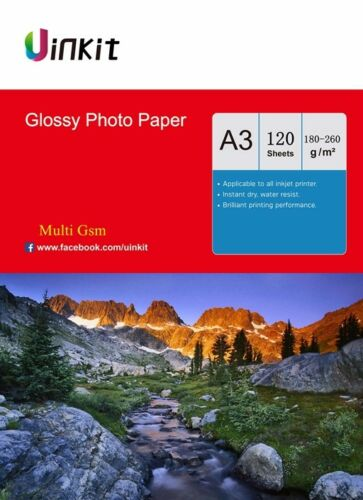 A4 120 Sheets 180-260 Gsm High Glossy Photo Paper Inkjet Paper Uinkit  A3