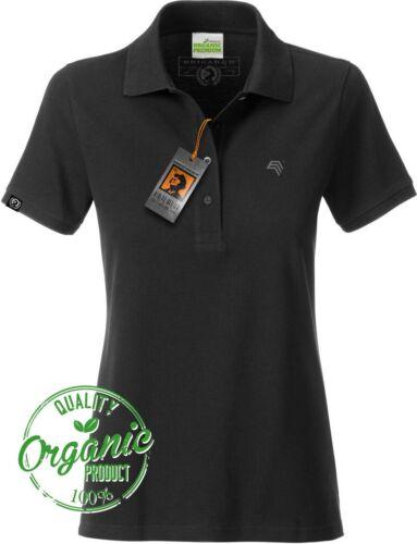 COMPANIEER Schwarz JAN 8009 Bio Baumwolle Basic Polo Shirt Damen Organic Frauen