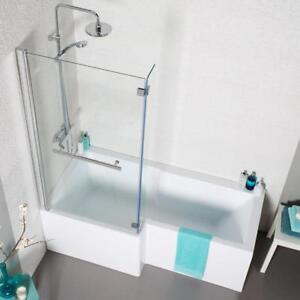 L Shaped Shower Bath Glass Shower Screen Amp Towel Rail Left
