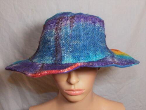 New Fair Trade Rainbow Boho Summer Festival Hand Made Wide Brim Soft Hemp Hat