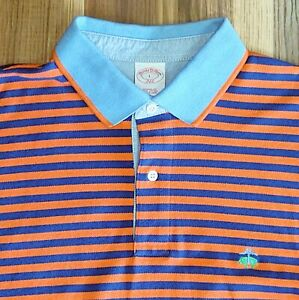 Men-s-Brooks-Brothers-Original-Fit-Polo-Shirt-Orange-Striped-Size-Large