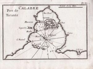 Carte-Geographique-XVIIIe-Calabre-Port-Tarente-Tarento-Calabria-1764