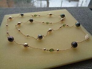 Lange-Goldkette-mit-Kugeln-Tahitiperlen-u-Peridot-in-585-Goldfilled