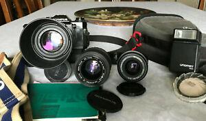 Vintage-Olympus-bulto-OM40-camara-SLR-de-pelicula-de-programa-tres-lentes-y-Winder-2