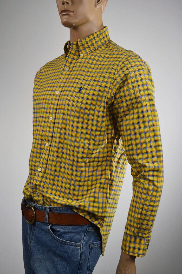 Ralph Lauren Classic Fit giallo & blu Plaid Long Sleeve Shirt/blu Shirt/blu Sleeve Pony S NWT b45ff1
