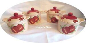 Set-Of-4-LTD-Commodities-Small-Red-Apple-Crocks-Bowls-Ramekins-w-Covers-Ceramic