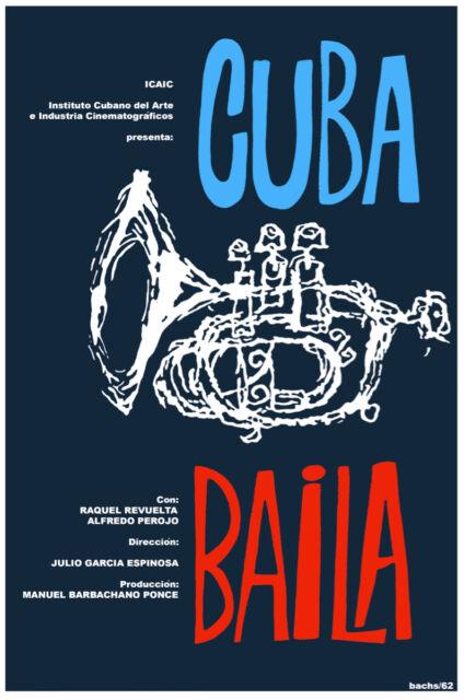 Vintage POSTER.Stylish Graphic.Cuba baila.Dancing Jazz.Interior Music Decor.739i