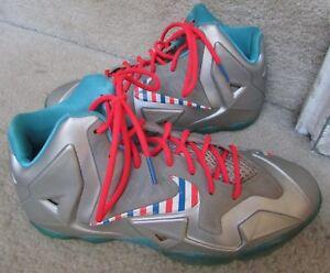 Nike Lebron XI 11 Silver Barber Shop Candy Cane Size 7Y 621712-009 ... c1ef59e5e