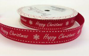 Bertie-039-s-Bows-Happy-Christmas-16mm-Red-Grosgrain-Ribbon-on-3m-Roll