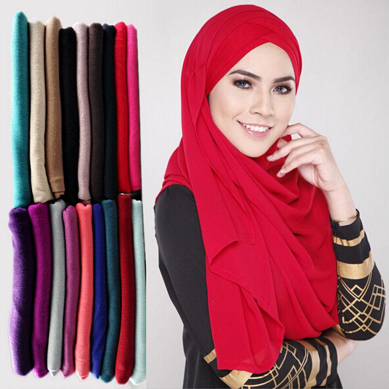 Women Fashion Chiffon Long Scarf Muslim Hijab Arab Wrap