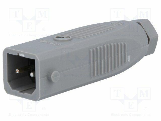 STAS-2 Connector rectangular ST plug male PIN2 tinned IP54 16A STAS2