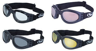 Adventure Folding Motorcycle Goggles with Black Frames and Yellow Mirror Lenses