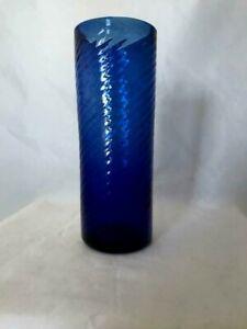 Collectible-Vintage-Cobalt-Blue-Swirled-Hand-Blown-Glass-Bud-Vase-Rough-Pontil