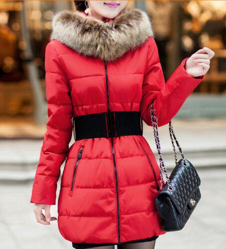 Comodo caldo piumino corto donna sciancrato rosso cappuccio cintura moda 1184