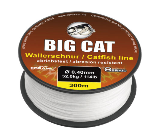 CORMORAN BIG CAT 8-BRAID CATFISH Geflochtene CORAMID Waller-Schnur 0,14€//m