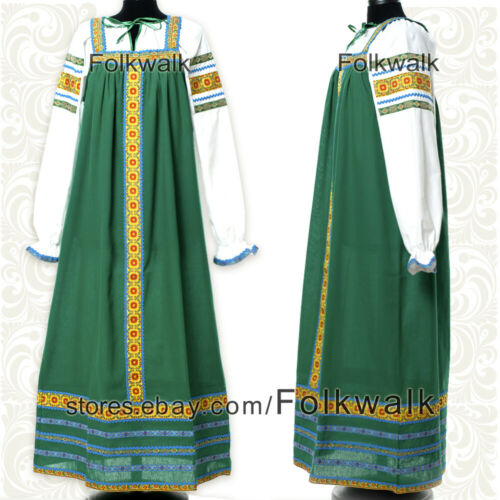 Сotton dress for woman Nadia russian traditional folk sarafan with blouse