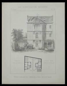 Sportif Paris Rue Lemercier, Hotels Jumeaux - 1892 - Planche Architecture - Goury